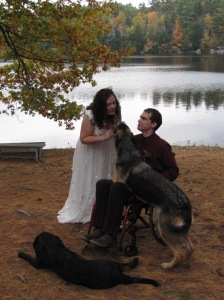 Bride and Groom with their German Shepherd and Labrador Retriever.